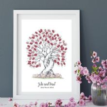 A3+ Personalised Wedding Fingerprint Tree - Guest Book Alternative - Bride and Groom Keepsake